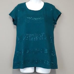 Coldwater Creek green sequined top size M